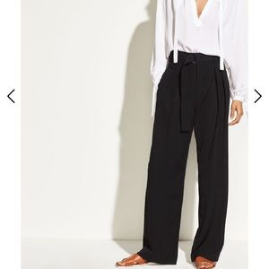Vince High Waist Belted Wide Leg Pant